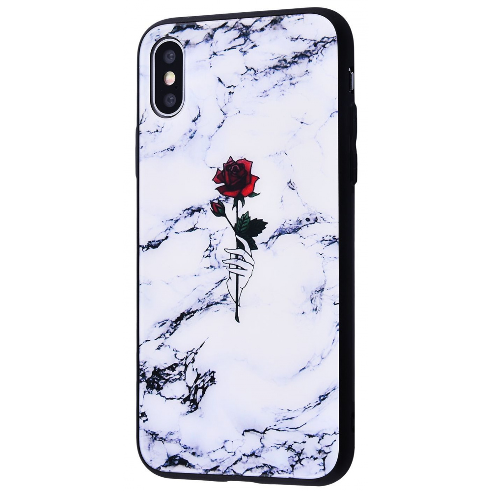Marble High quality Case (Tempering glass+TPU) iPhone Xs Max - фото 3