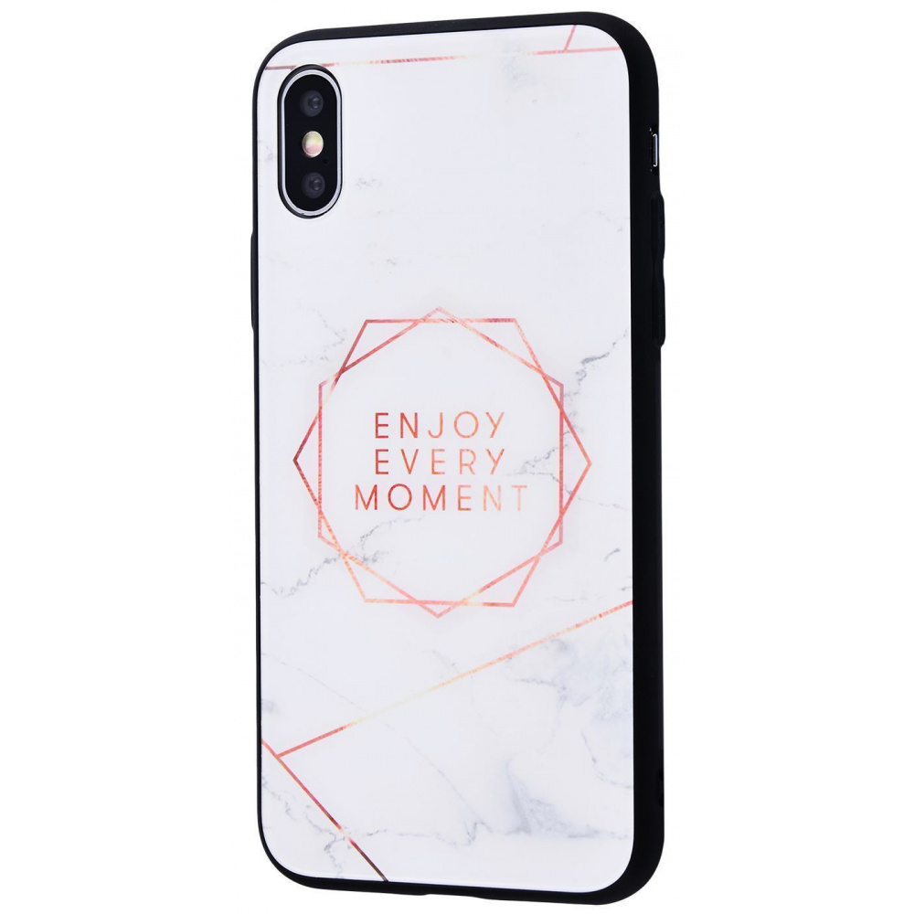 Marble High quality Case (Tempering glass+TPU) iPhone Xs Max - фото 1