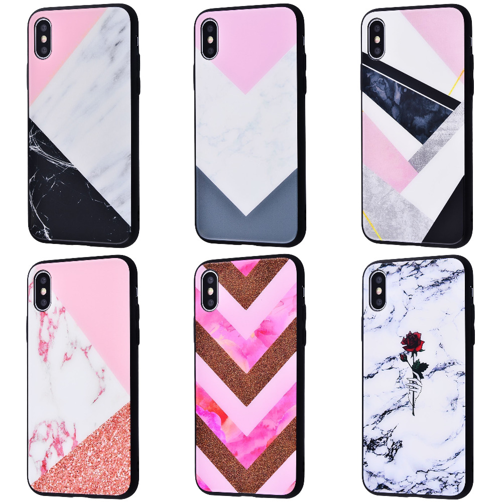 Marble High quality Case (Tempering glass+TPU) iPhone Xs Max