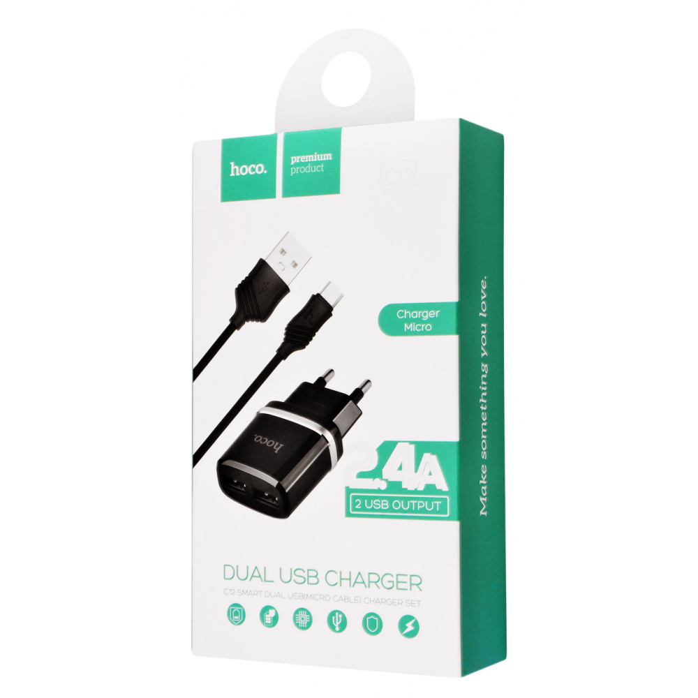 СЗУ Hoco C12 Charger + Cable (Micro) 2.4A 2USB - фото 1
