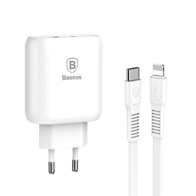 Купить СЗУ Baseus Bojure PD Quick Charger + Cable (Lightning) 32W 1Type-C 1USB 20363 - Ncase