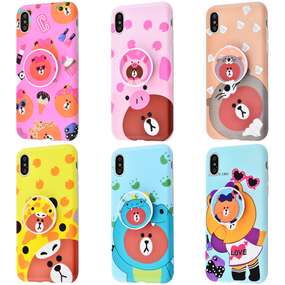 Cute Bear Imd case with pop socket iPhone Xs Max