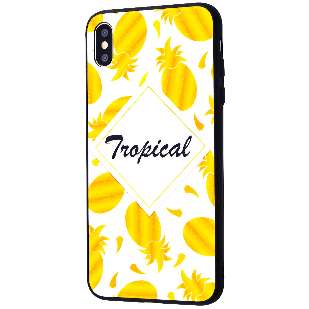 Tropical High quality Case (Tempering glass+TPU) iPhone Xs Max