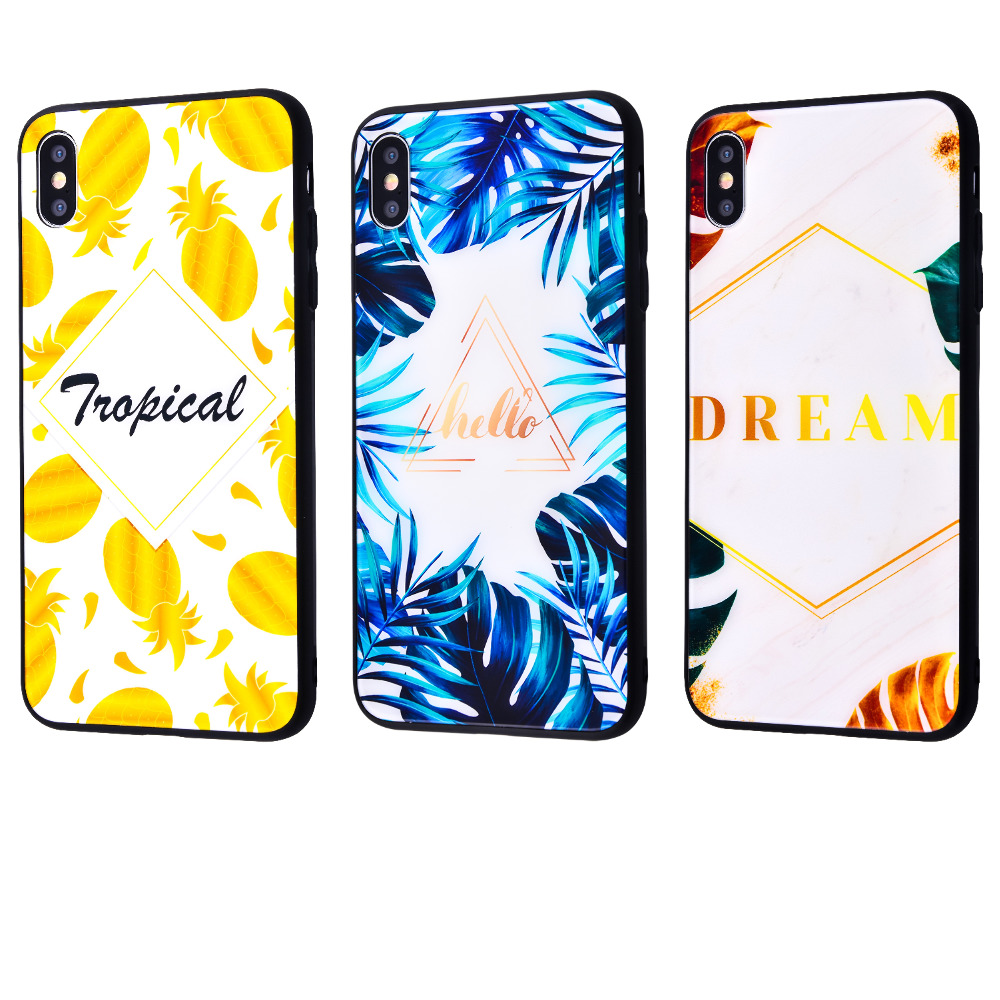 Tropical High quality Case (Tempering glass+TPU) iPhone X/Xs
