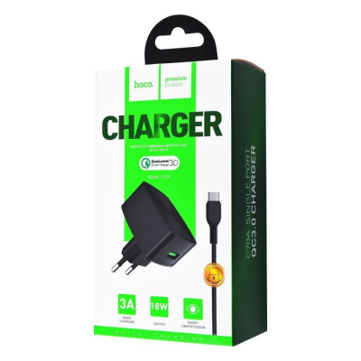 Купить СЗУ Hoco C70A Charger + Cable (Type-C) QC3.0 1USB 23832 - Ncase