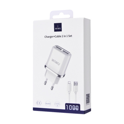 Купить СЗУ WIWU W103 + Cable (Lightning) 2USB 28331 - Ncase