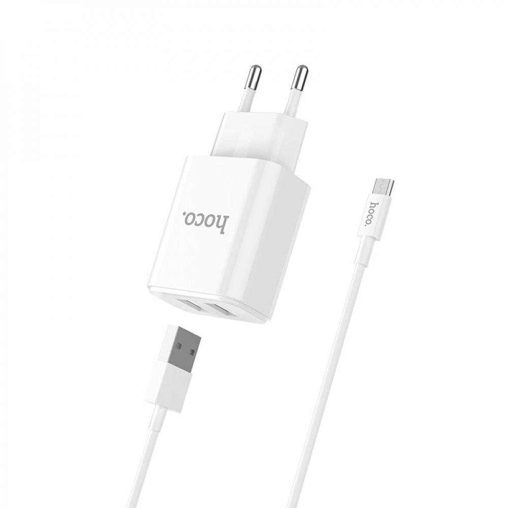 СЗУ Hoco C62A Charger + Cable (Micro) 2.1A 2USB