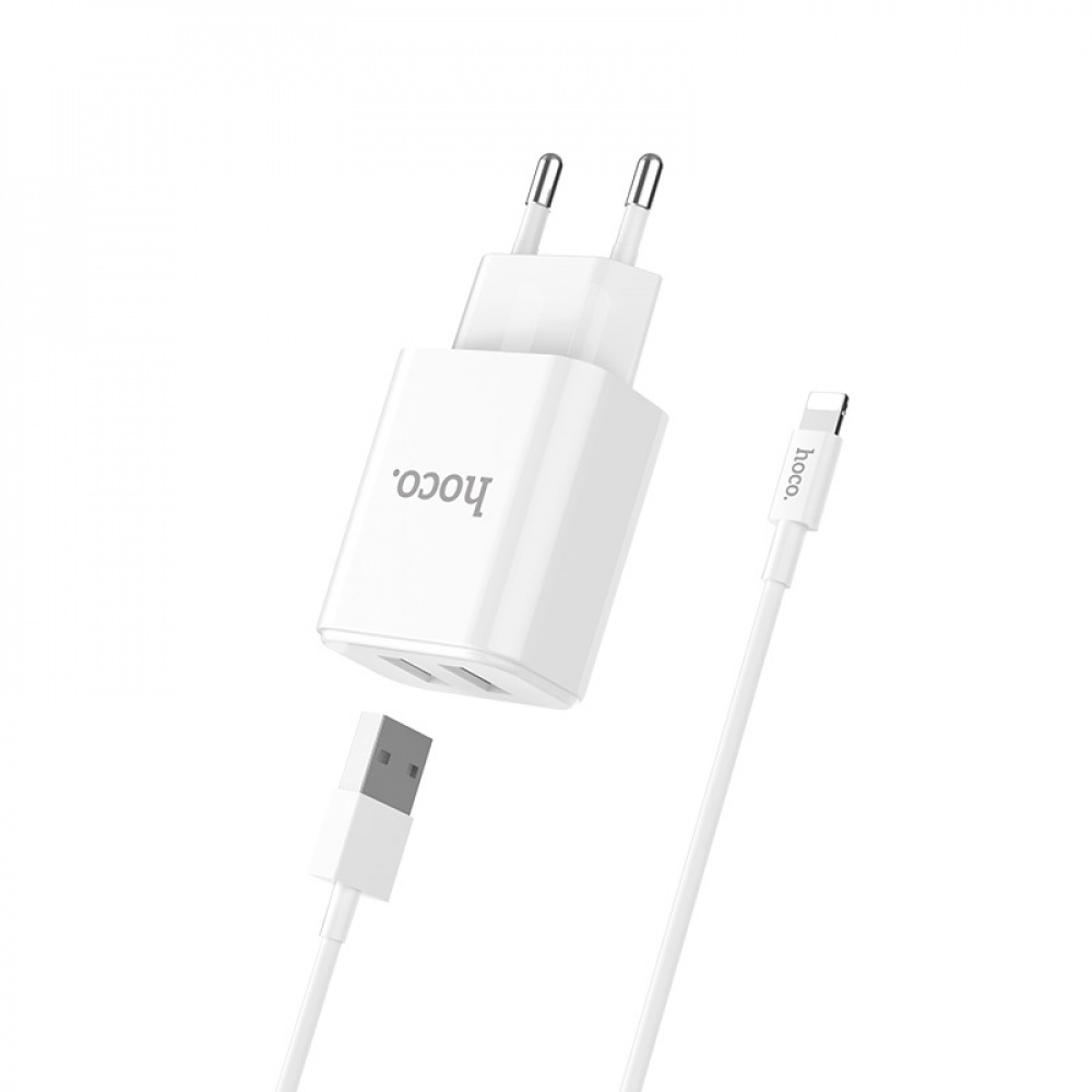 СЗУ Hoco C62A Charger + Cable (Lightning) 2.1A 2USB