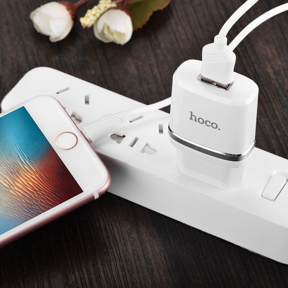 СЗУ Hoco C11 Charger + Cable (Lightning) 1.0A 1USB - фото 3