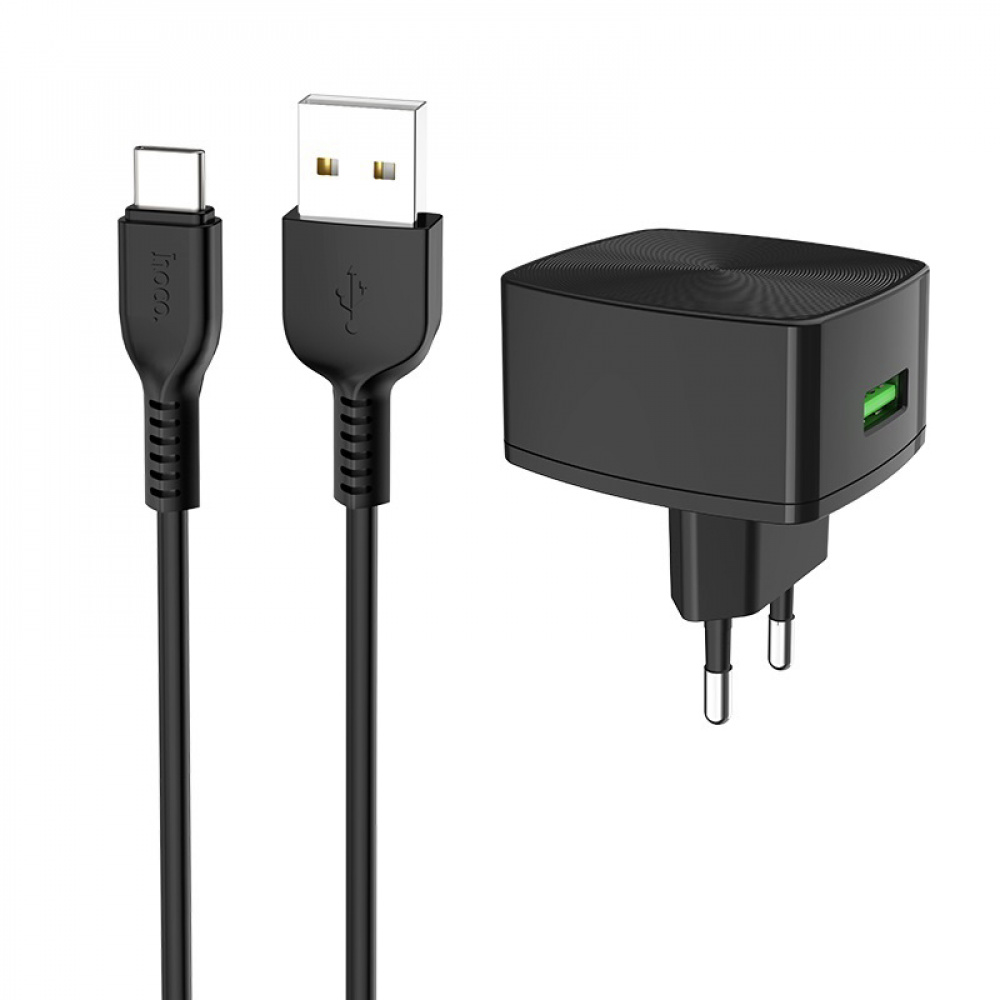 СЗУ Hoco C70A Charger + Cable (Type-C) QC3.0 1USB